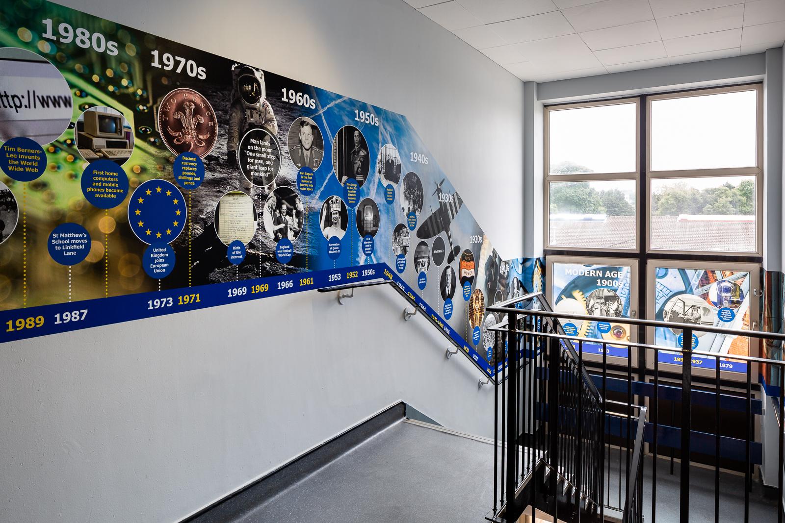 St Matthews school stairway wall art with vinyl window