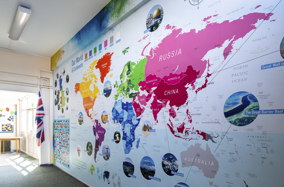 St Michael Catholic Primary School Surrey School World Map Wall Art and Facts Wall