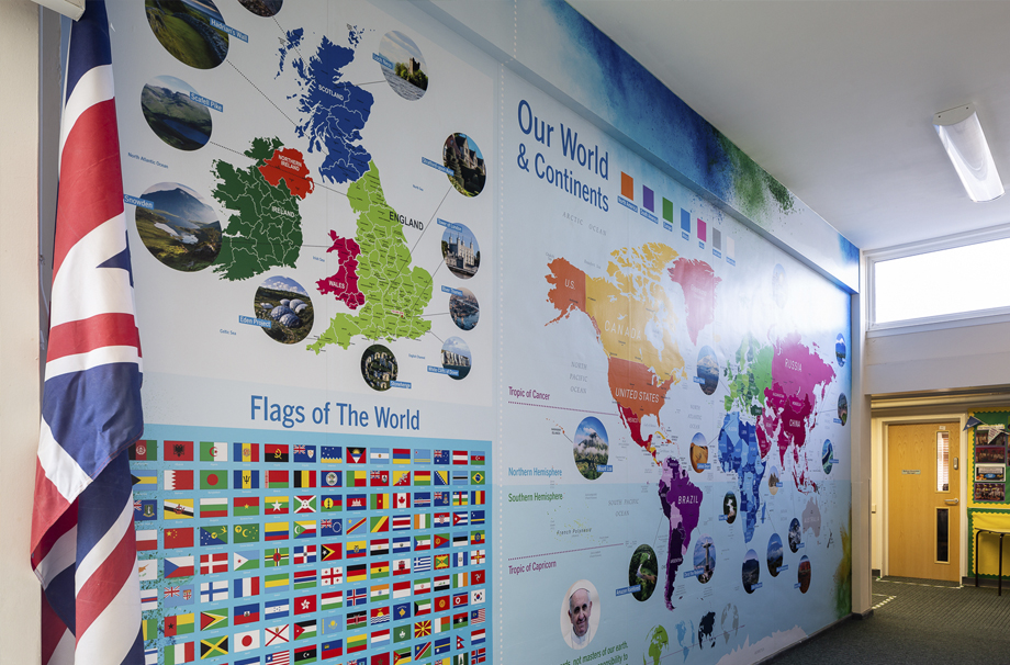 St Michael Catholic Primary School World Map Wall Art and Facts Wall